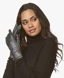 Filippa K Zip Leather Gloves - Gun Metal