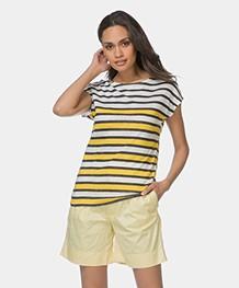 Petit Bateau Linen Striped Tee - Yellow/White/Navy