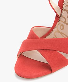 Sam Edelman Aly Ankle Strap Heels - Candy Red