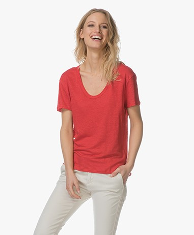 Filippa K Linen Scoop Neck T-shirt - Rouge