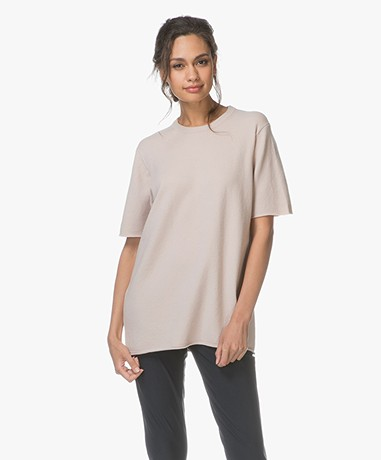 extreme cashmere N°64 Long Knitted T-shirt - Blush