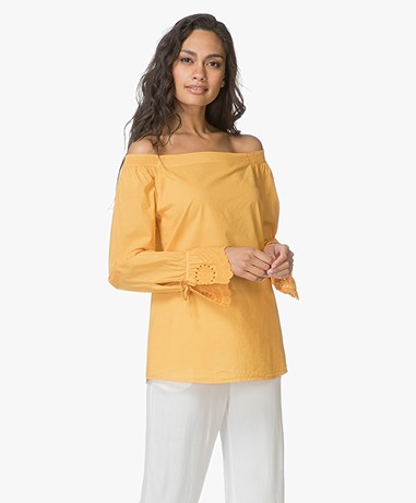 BOSS Emoina Off-shoulder Blouse - Donkergeel