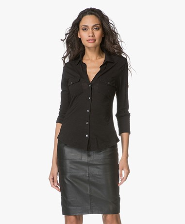James Perse Contrast Panel Jersey Blouse - Black