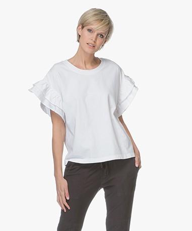 Current/Elliott The Carina Ruffle T-shirt - Sugar