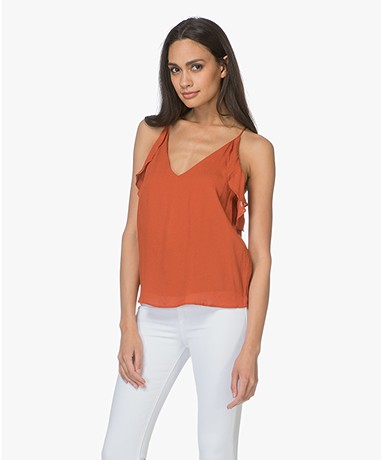 Magali Pascal Whisper Top met Volants - Morange
