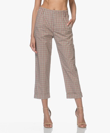 Drykorn Delay Checkered Pants - Beige