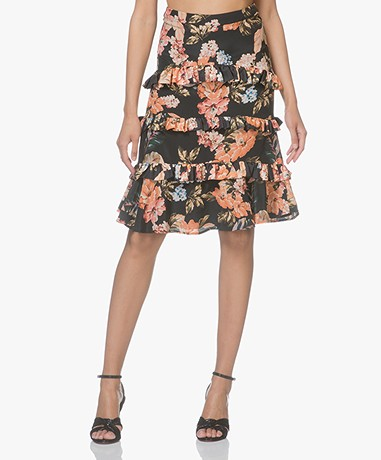 FWSS Veronica Silk Floral Printed Skirt -  The Tropical Black