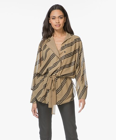 By Malene Birger Zeniala Striped Blouse - Khaki/Black