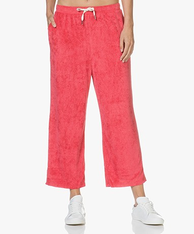 American Vintage Ponpon Velours Cropped Sweatpants - Red Berries