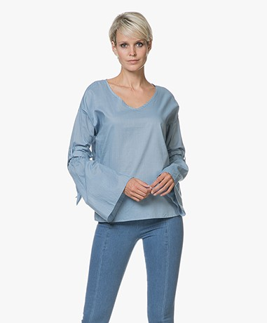BOSS Equili Chambray Blouse with Flared Sleeves - Turquoise/Aqua