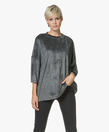 IRO Parada Oversized Velours T-shirt - Chalk/Grey