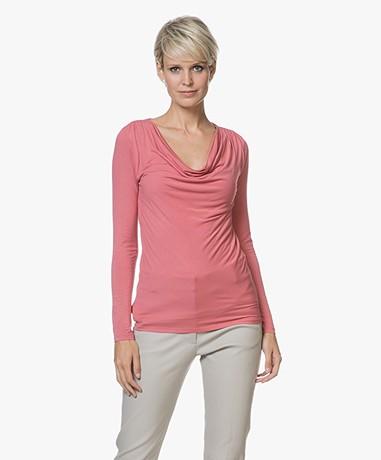 Majestic Filatures Anna T-shirt with Waterfall Neckline - Blush