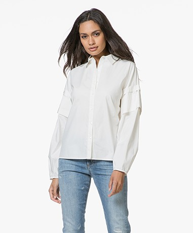 FWSS Ine Poplin Blouse with Ribbon Details - Antique White