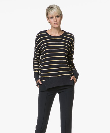 Denham Captain Striped Fleece Sweater - Dark Navy