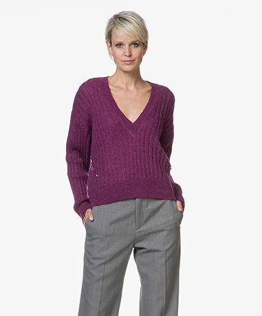 IRO Wall Cropped V-hals Trui - Magenta Purple