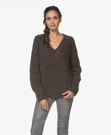 Mes Demoiselles Juverny Mohair Blend V-neck Sweater - Khaki