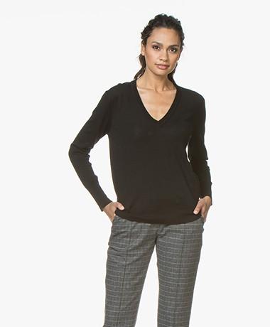 Filippa K Merino V-neck Sweater - Black