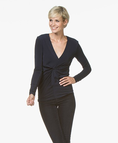 By Malene Birger Sulana Crêpe Jersey T-shirt - Midnight Heaven