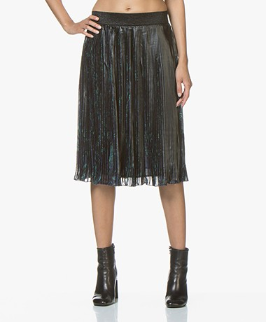 MKT Studio Jungle Pleated Chiffon Skirt - Navy