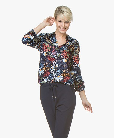 Josephine & Co Jakko Printed Viscose Blouse - Dark Blue