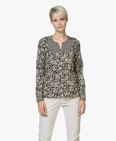 indi & cold Flower Print Blouse - Black