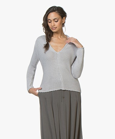 BRAEZ Fawa Knitted V-neck Pullover - Silver Grey