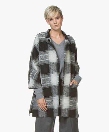 Repeat Oversized Wool Blend Checkered Coat - Light Grey/Black