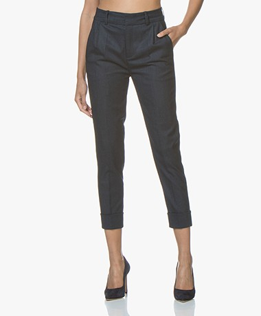 Drykorn Emom Wool Blend Cropped Pants - Dark Blue