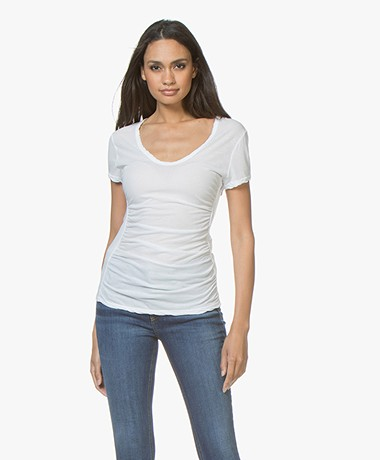 James Perse Mixed Media Side T-shirt - Wit