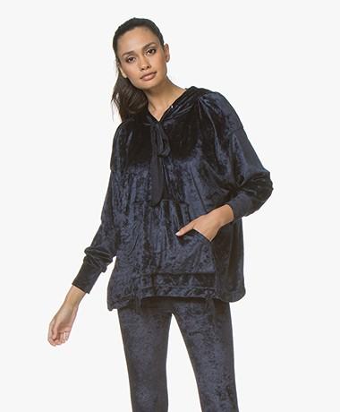 BRAEZ Sany Oversized Velvet Hooded Sweater - Navy