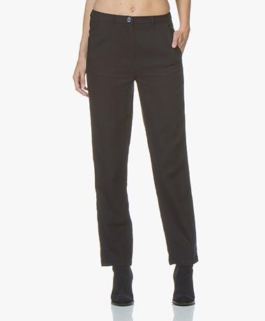 American Vintage Yayowood Cotton Wool Blend Pants - Navy