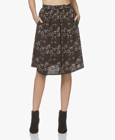 indi & cold Viscose Print A-line Skirt - Black