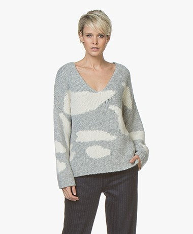 Majestic Filatures Alpaca Blend Camouflage V-neck Sweater - Grey/Ecru