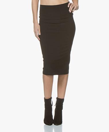 Norma Kamali Straight Travel Jersey Skirt - Black