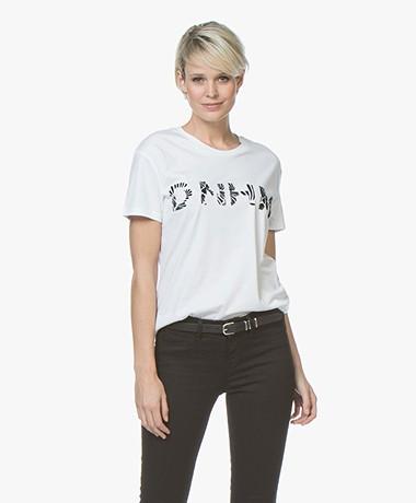Denham Naval Flock Print T-shirt - Optic White