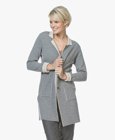 Belluna Cafe Knitted Blazer Cardigan - Grey/Beige