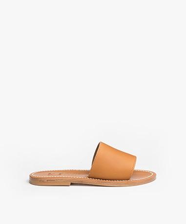 K. Jacques St. Tropez Capri Leren Slippers - Naturel