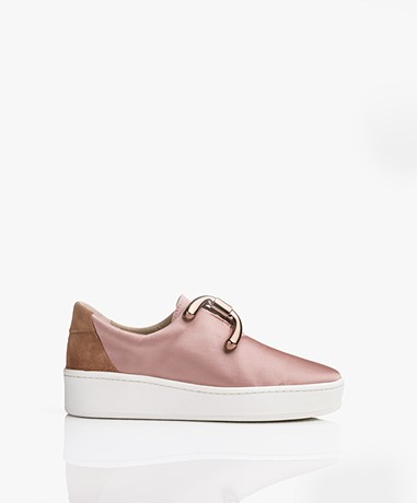 An Hour And A Shower Knot Slip-on Satin Sneakers - Satin Brick