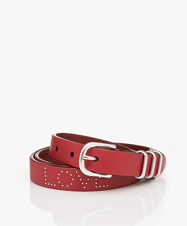 Rag & Bone Teigan Leather Belt - Fiery Red