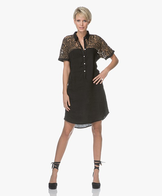 Belluna Steff Linen Dress with Lace - Black