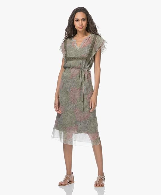 Indi & Cold Chiffon Printed Dress - Militar