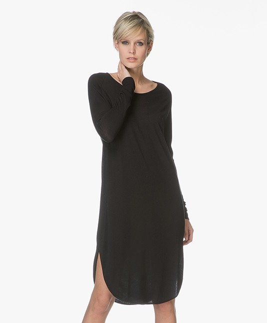 Sibin/Linnebjerg Grape Sweater Dress with Cashmere - Black