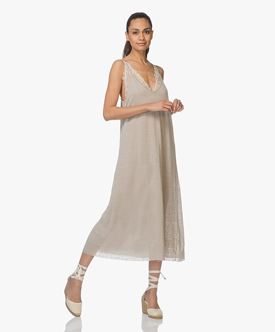 American Vintage Flaxcity Fine Knitted Linen Midi Dress - Ficelle