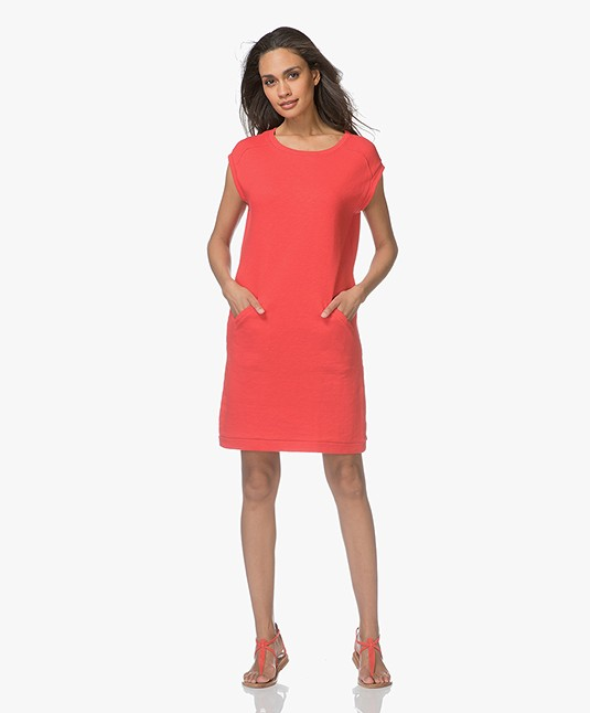 BY-BAR Rose Cap Sleeve Sweat Dress - Bright Red