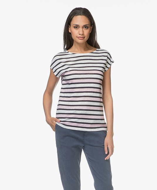 Petit Bateau Linen Striped Tee - Pink/White/Navy