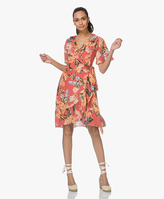 FWSS Synne Silk Floral Dress - The Tropical Red