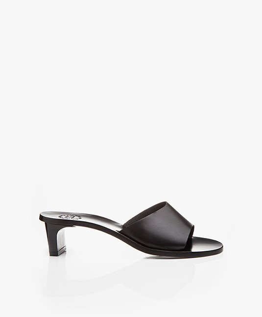 ATP Atelier Peonia Leather Mules - Black Vachetta
