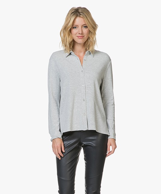 Majestic Viscose Blouse in Fleece Jersey - Brume Mêlee
