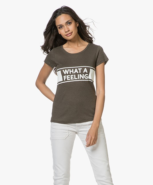 Ba&sh Orlo Statement Print T-shirt - Kaki