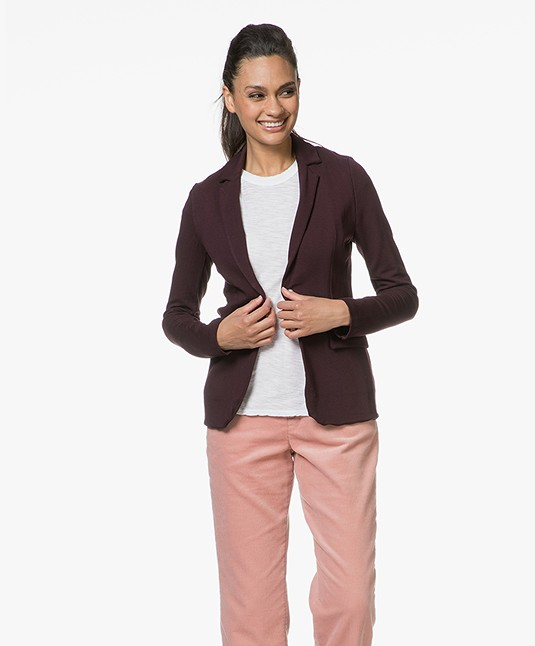 Majestic Filatures Blazer in Fleece Jersey - Aubergine